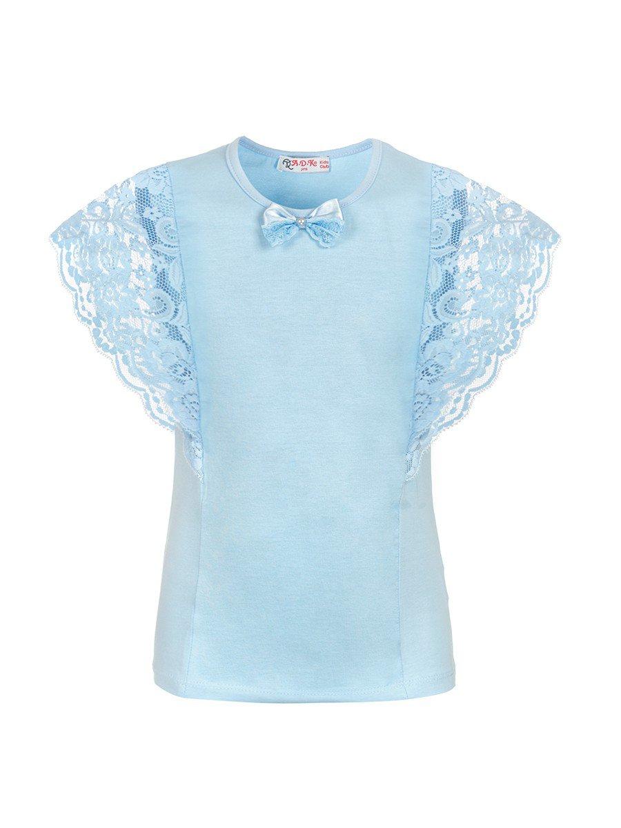 Блузка для девочки отделка гипюр, цвет: голубой