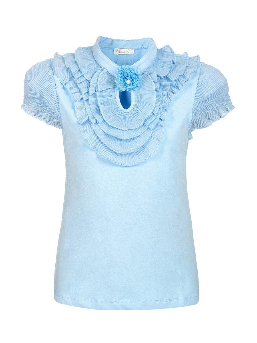 Блузка для девочки отделка шифон, декор- брошь, цвет: голубой