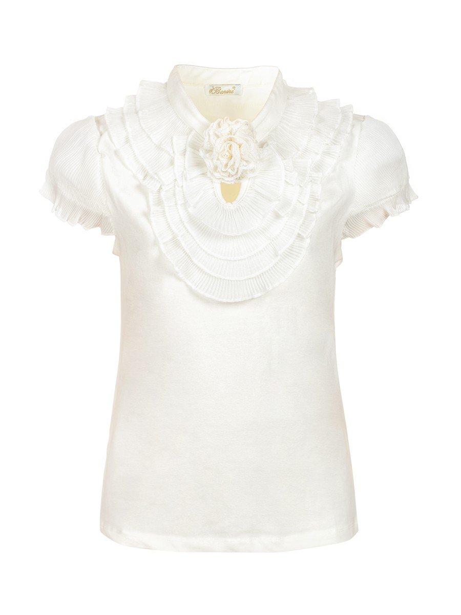 Блузка для девочки отделка шифон, декор- брошь, цвет: молочный
