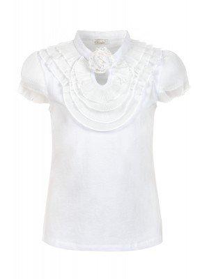 Блузка для девочки отделка шифон, декор- брошь