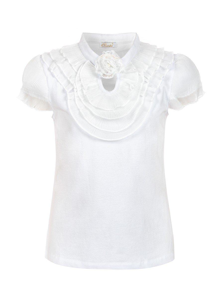 Блузка для девочки отделка шифон, декор- брошь, цвет: белый