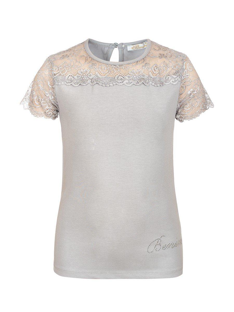 Блузка для девочки отделка гипюр, цвет: серый