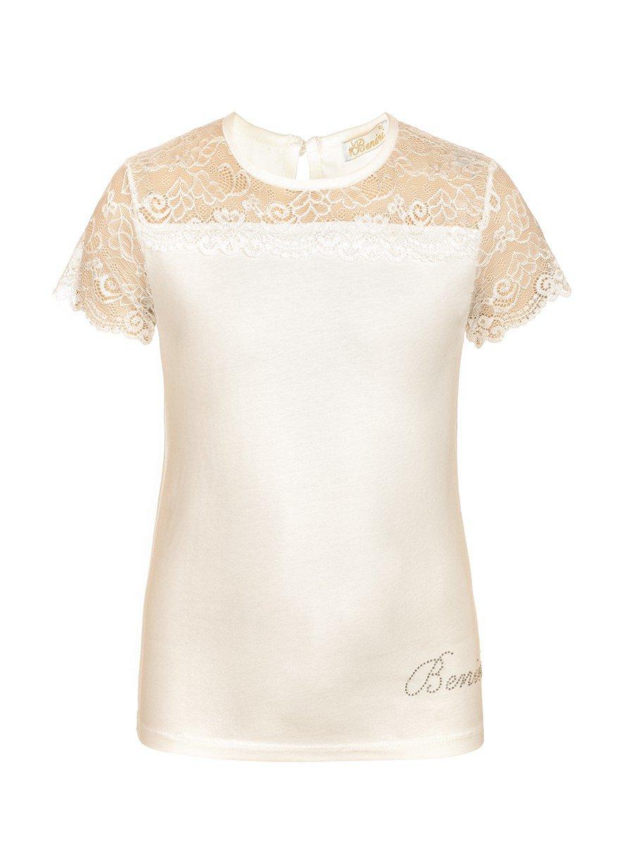Блузка для девочки отделка гипюр, цвет: молочный