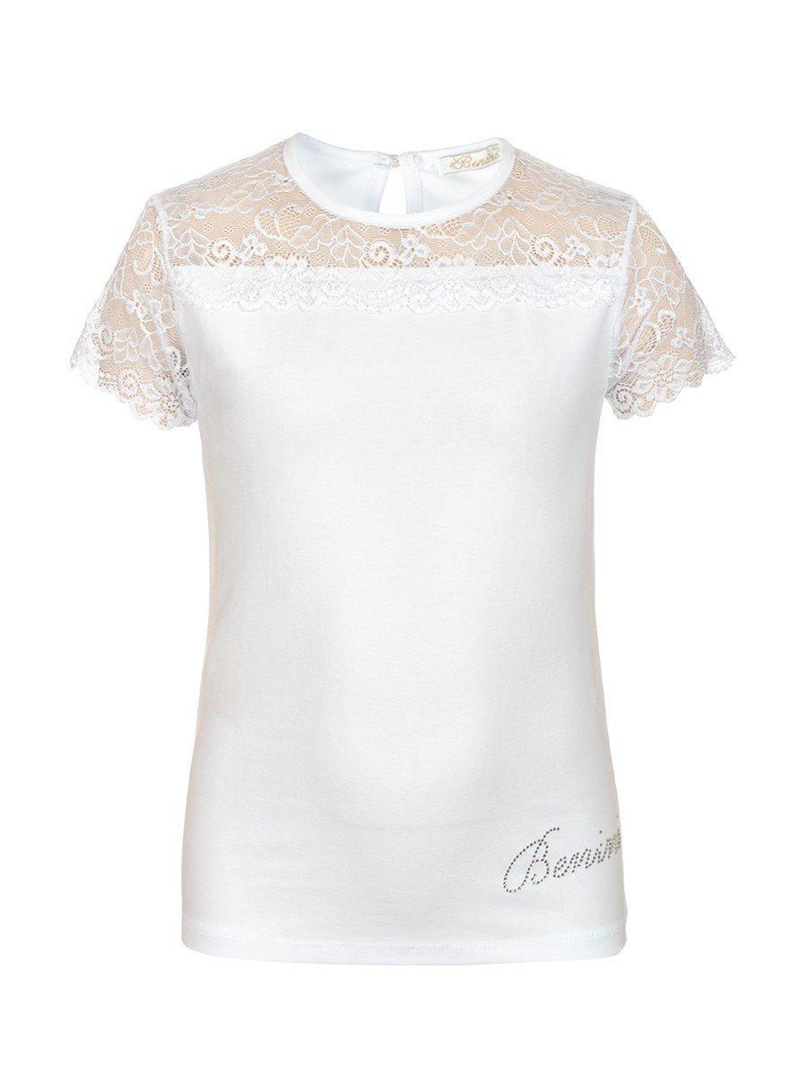 Блузка для девочки отделка гипюр, цвет: белый