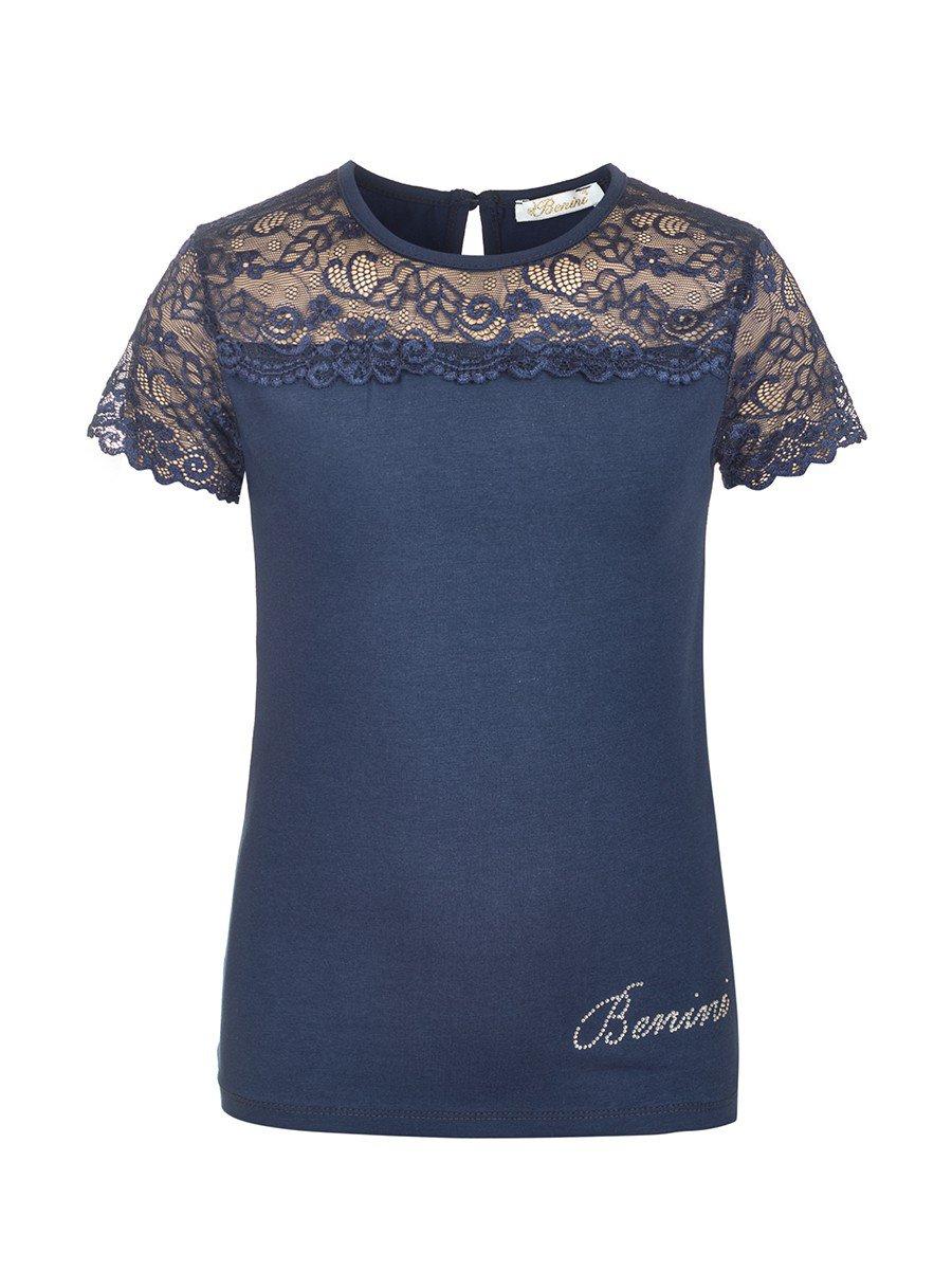 Блузка для девочки отделка гипюр, цвет: темно-синий