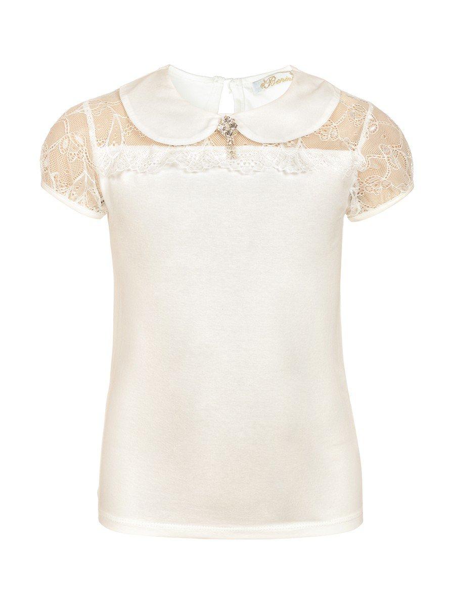 Блузка для девочки отделка гипюр, декор брошь, цвет: молочный