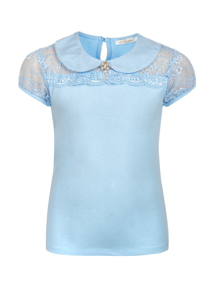 Блузка для девочки отделка гипюр, декор брошь, цвет: голубой