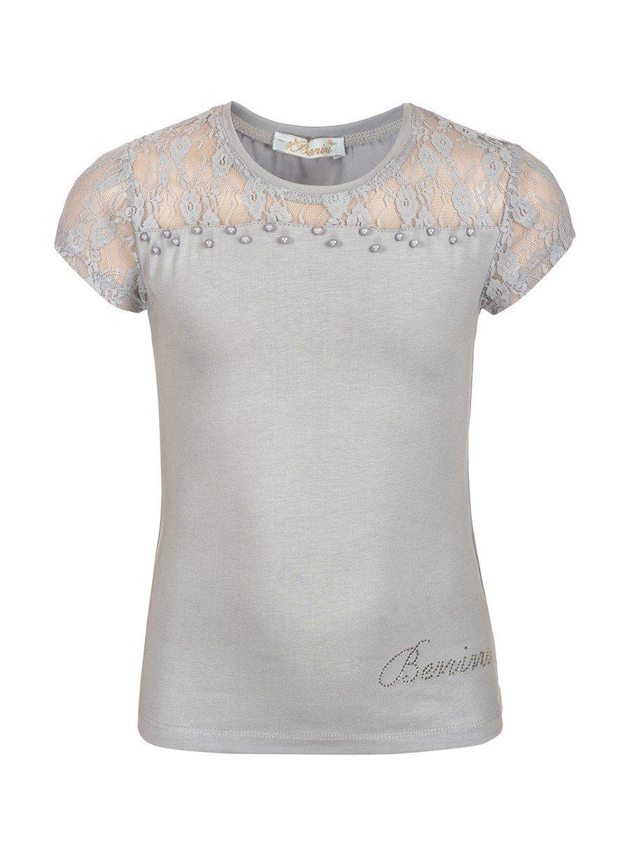 Блузка для девочки отделка гипюр и бусины, цвет: серый