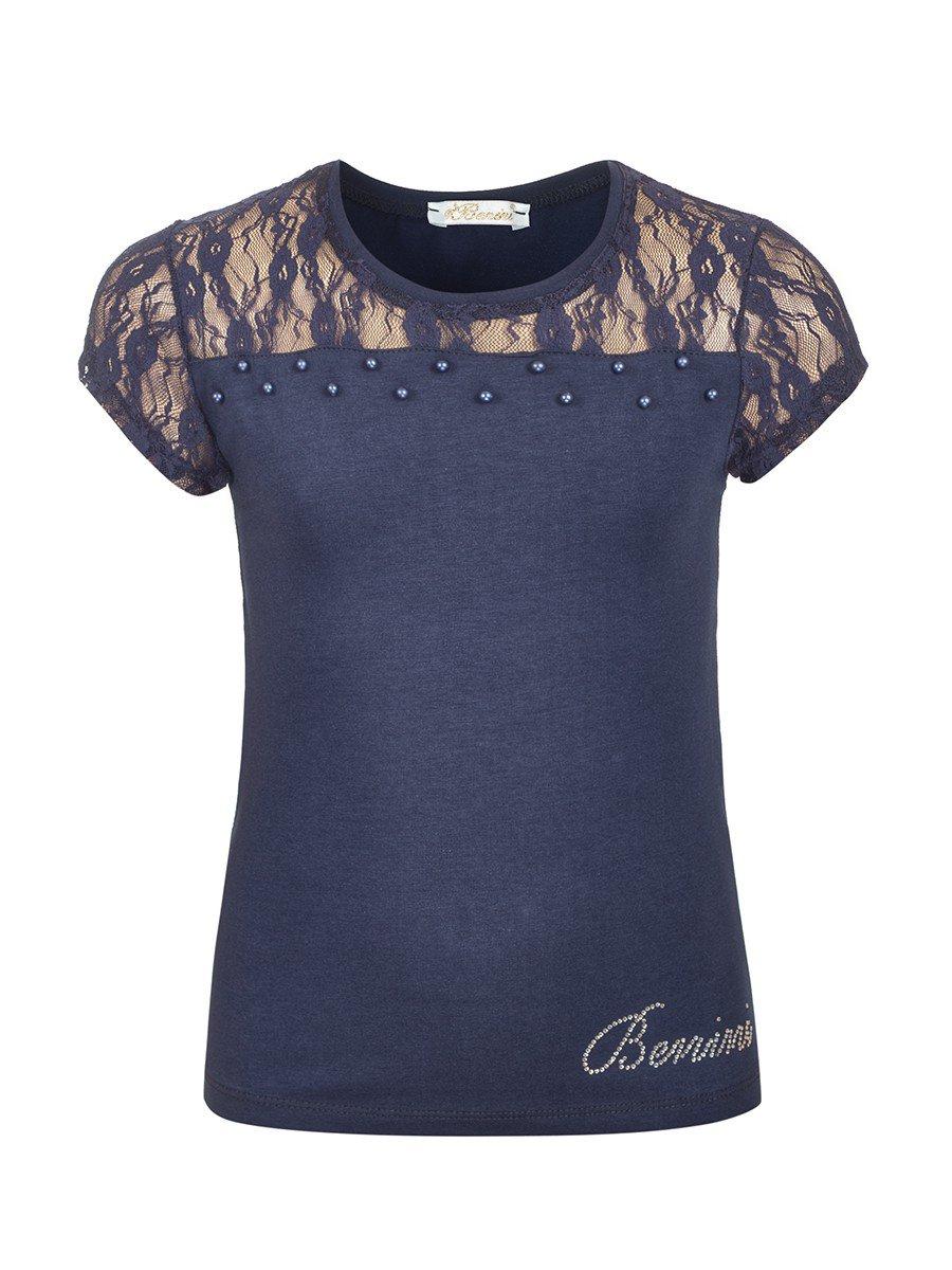 Блузка для девочки отделка гипюр и бусины, цвет: темно-синий