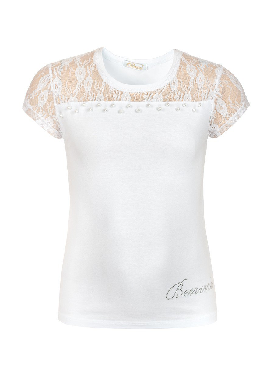 Блузка для девочки отделка гипюр и бусины, цвет: белый