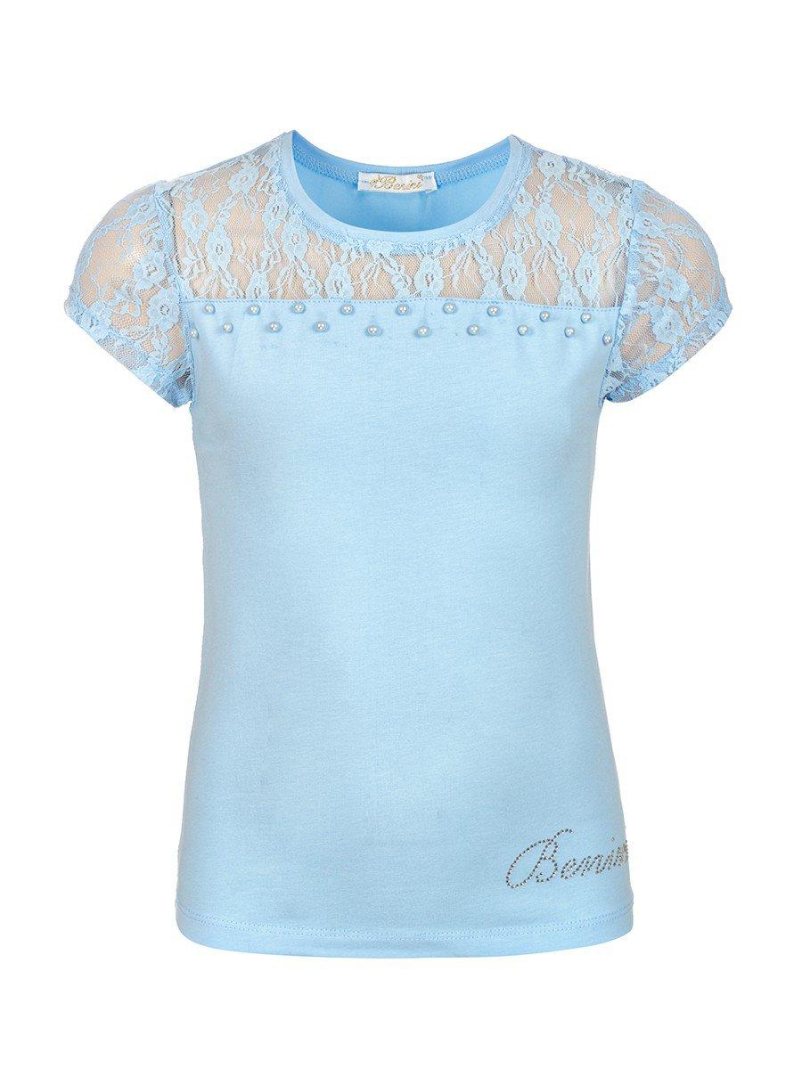 Блузка для девочки отделка гипюр и бусины, цвет: голубой