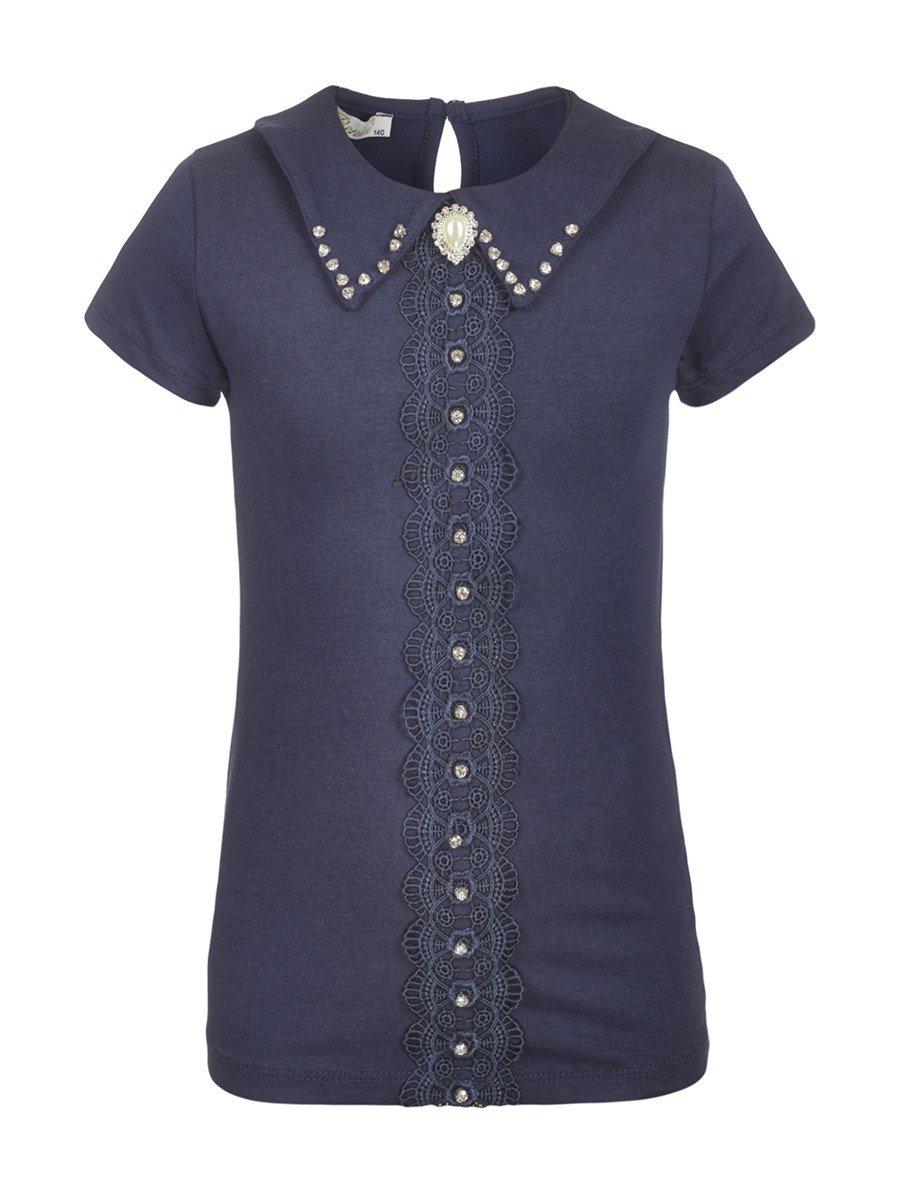 Блузка для девочки отделка гипюр и стразы, цвет: темно-синий