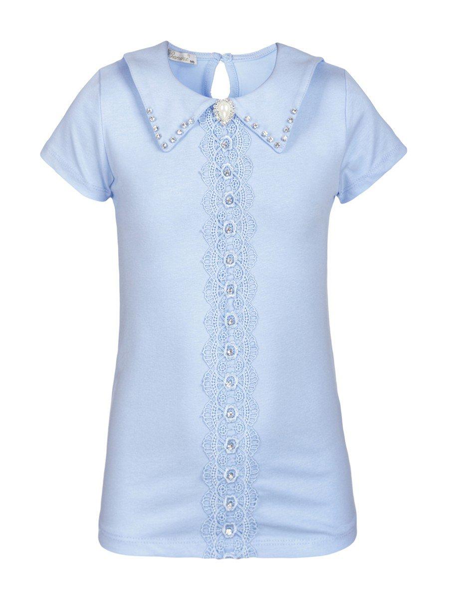 Блузка для девочки отделка гипюр и стразы, цвет: голубой