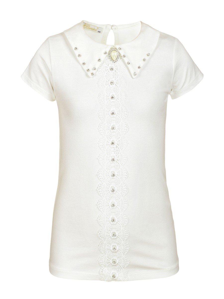 Блузка для девочки отделка гипюр и стразы, цвет: молочный