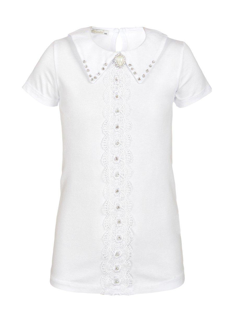 Блузка для девочки отделка гипюр и стразы