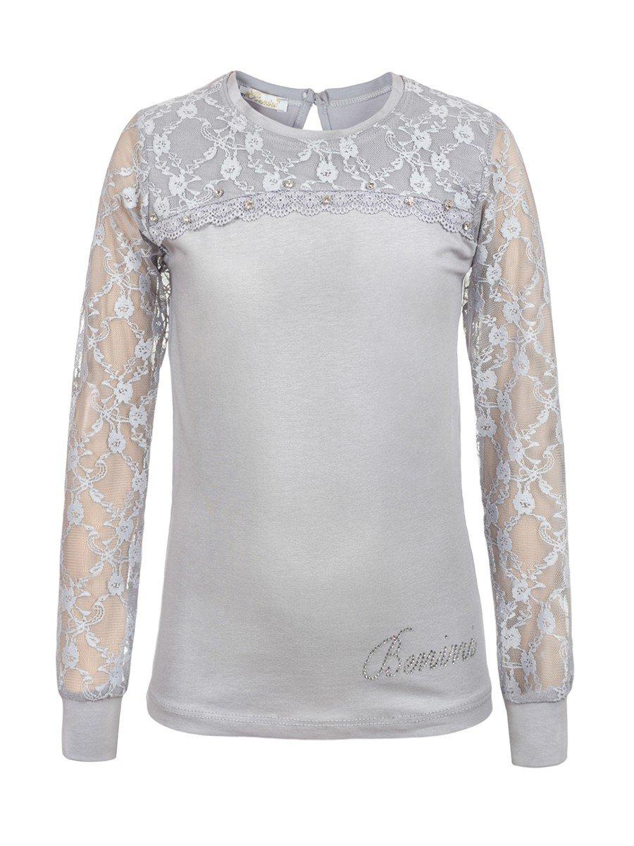 Блузка для девочки отделка гипюр и стразы, цвет: серый