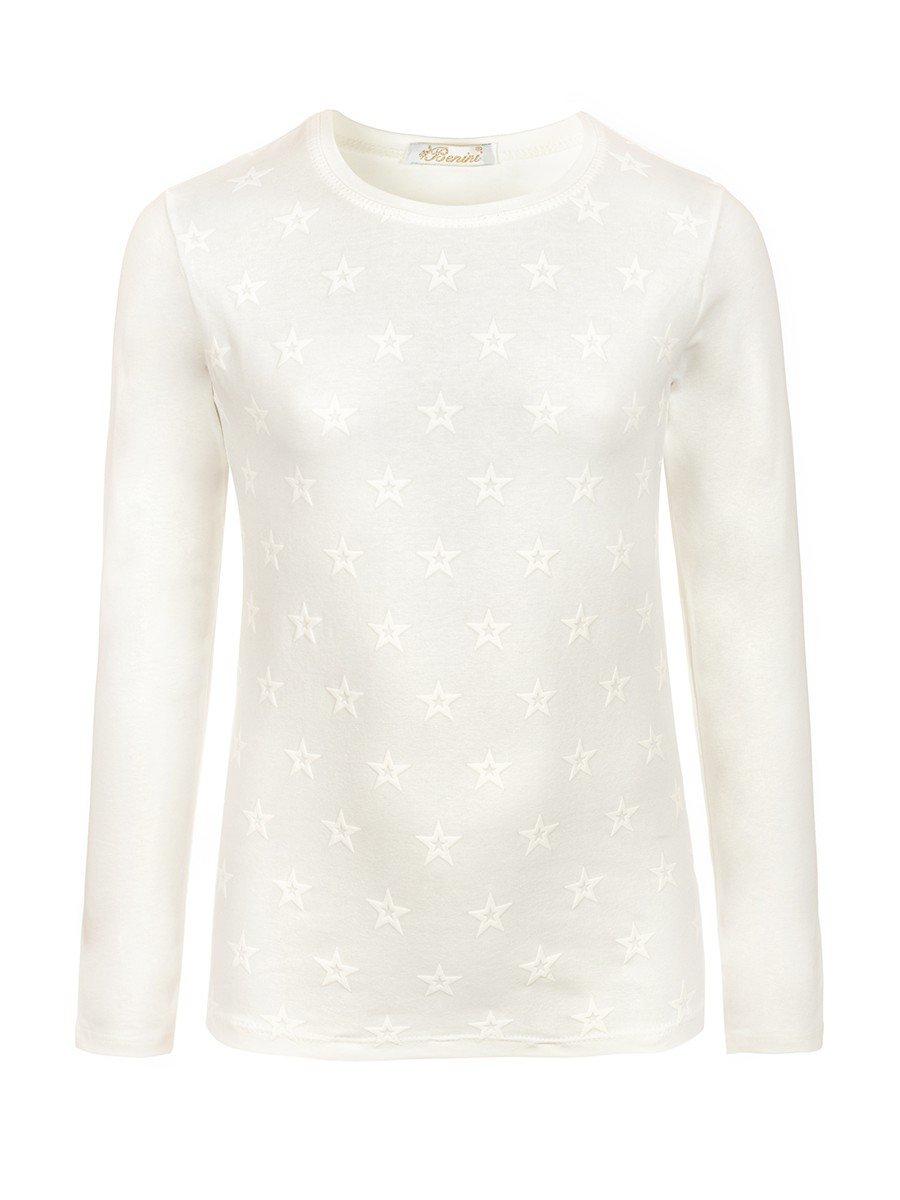Блузка для девочки с термоаппликацией, цвет: молочный