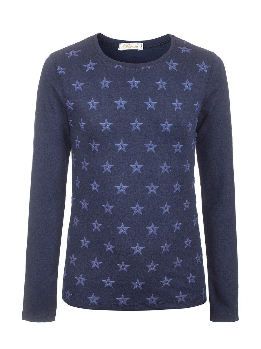 Блузка для девочки с термоаппликацией, цвет: темно-синий