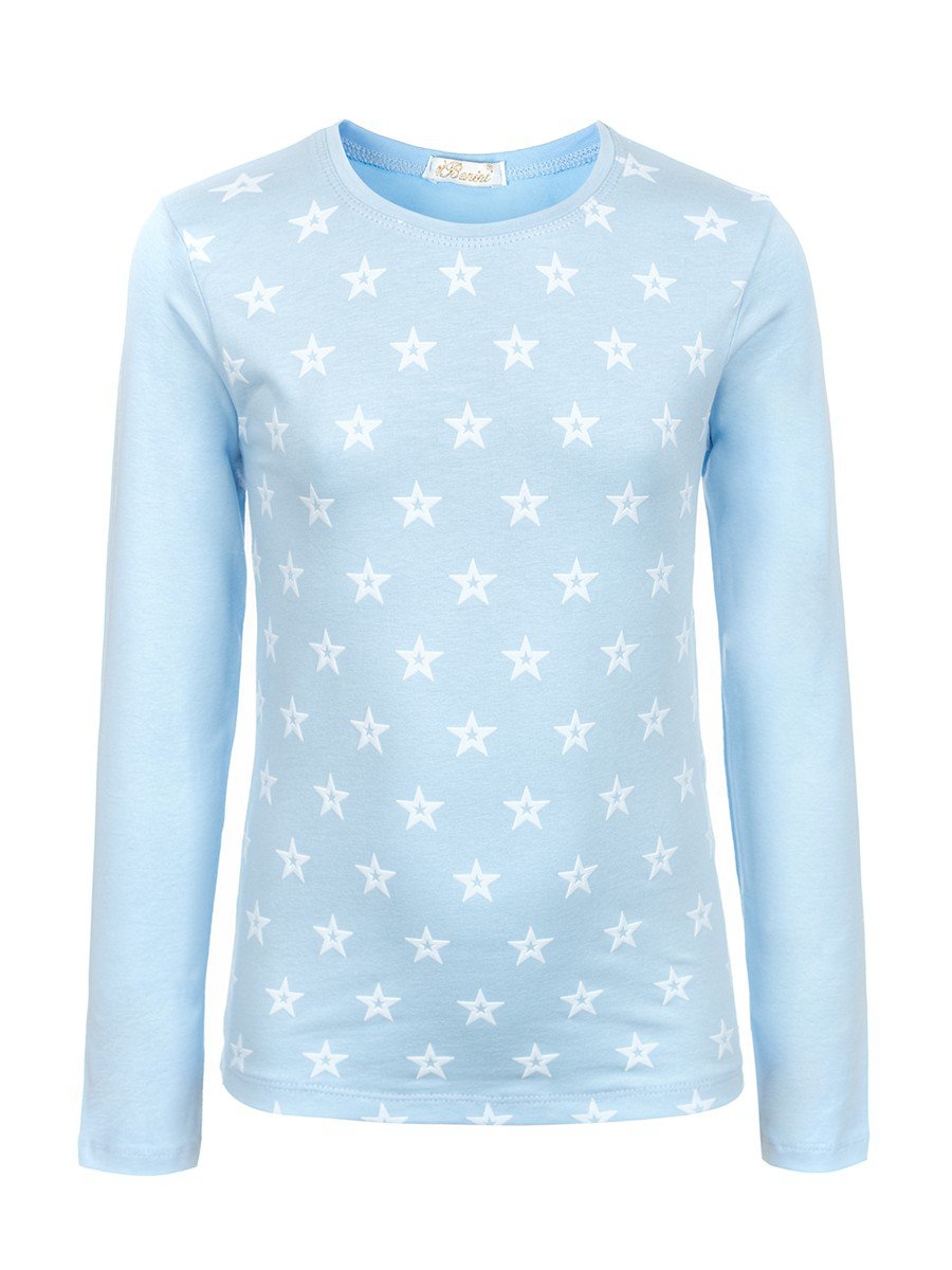 Блузка для девочки с термоаппликацией, цвет: голубой