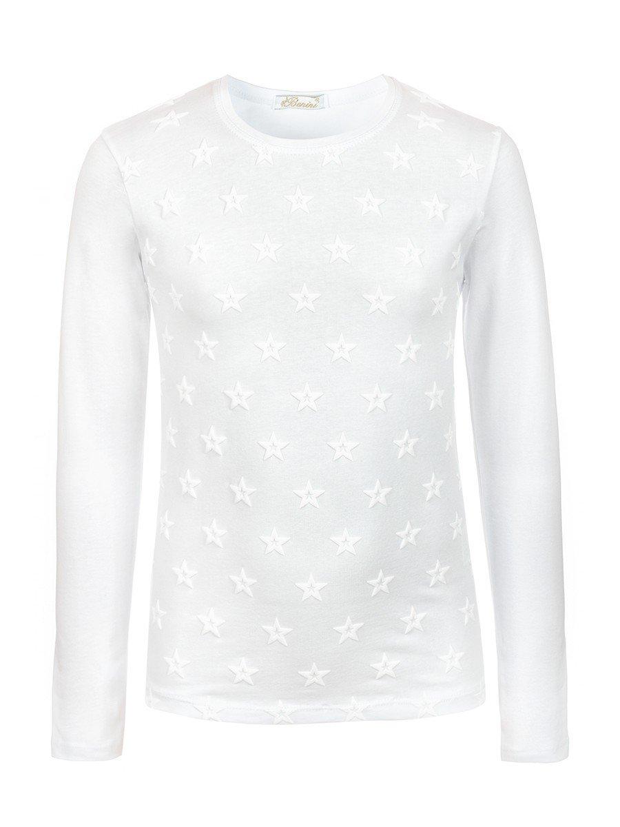 Блузка для девочки с термоаппликацией, цвет: белый
