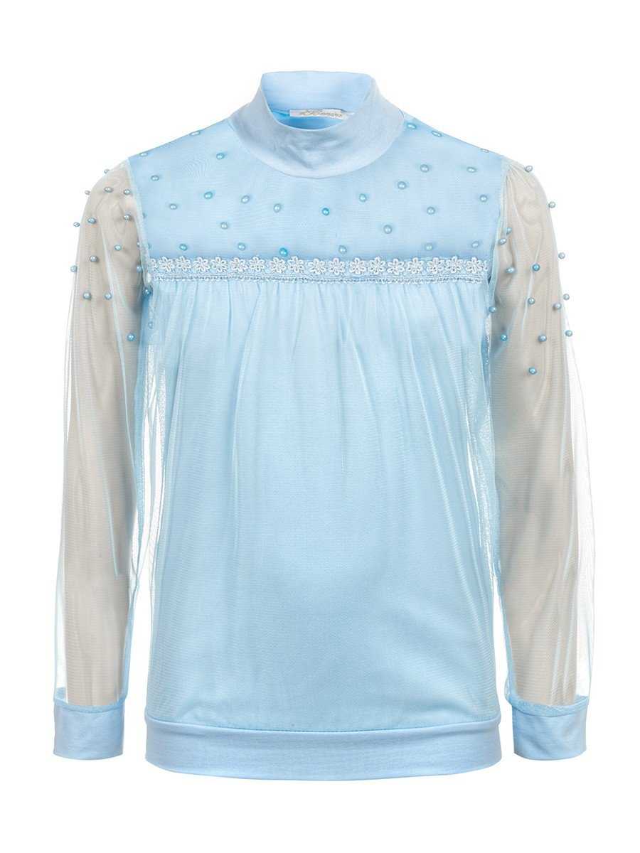 Водолазка для девочки отделка сетка и бусины, цвет: голубой