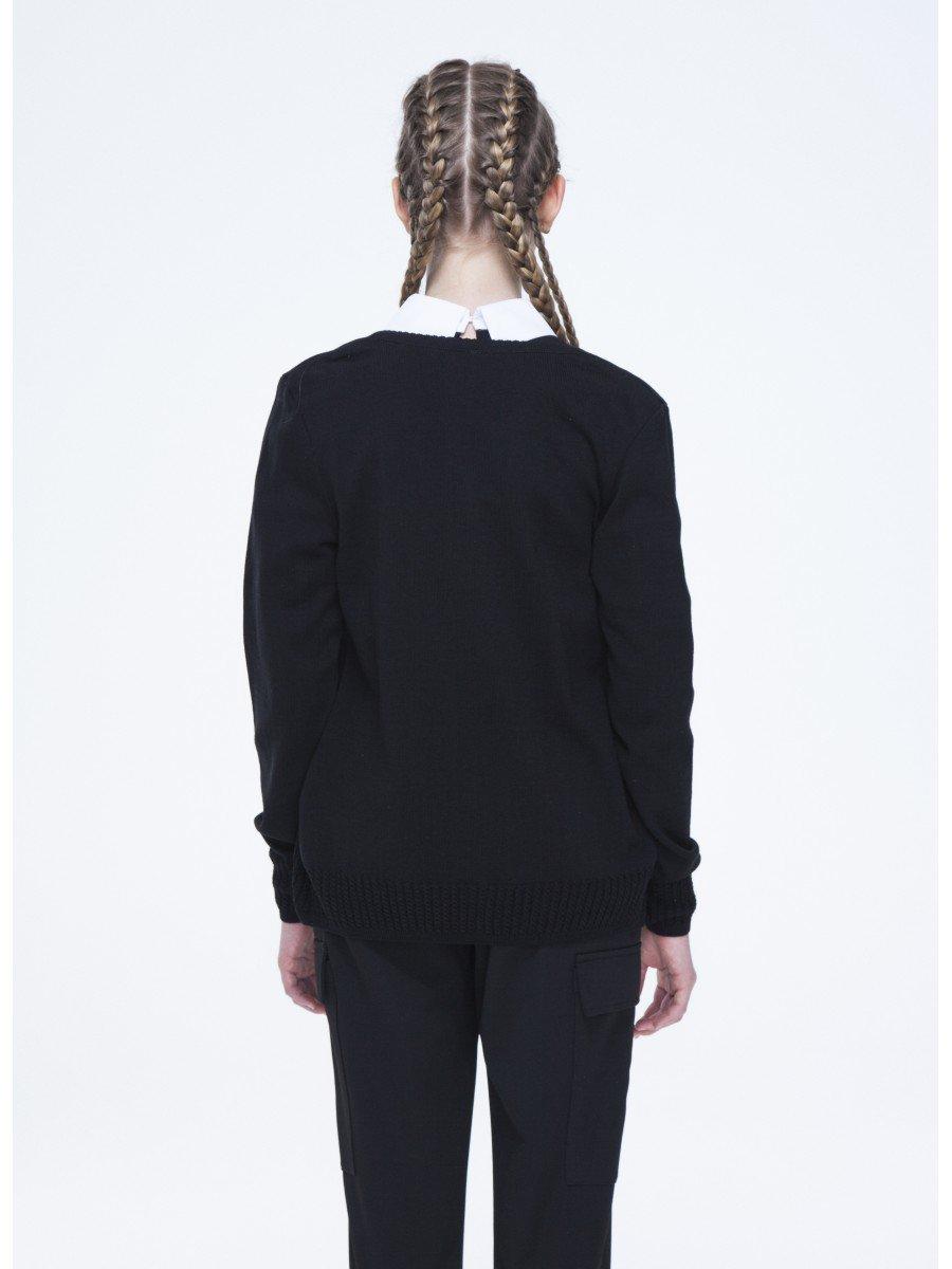 Кардиган прямого силуэта для девочки, цвет: черный