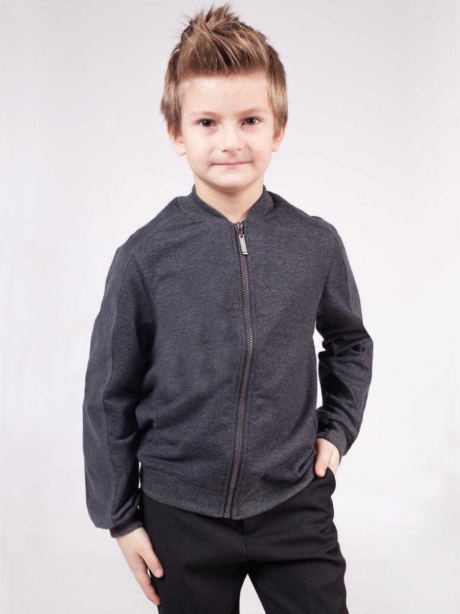 Бомбер трикотажный для мальчика, цвет: темно-серый