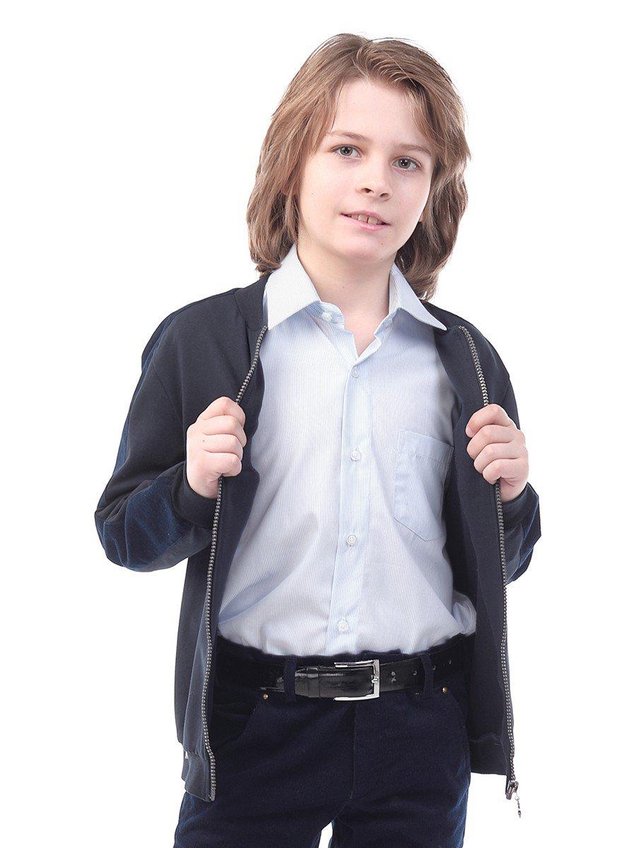 Бомбер трикотажный для мальчика, цвет: темно-синий