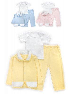 Комплект детский: ползунки, футболка и кофточка, интерлок, гладкокрашенный