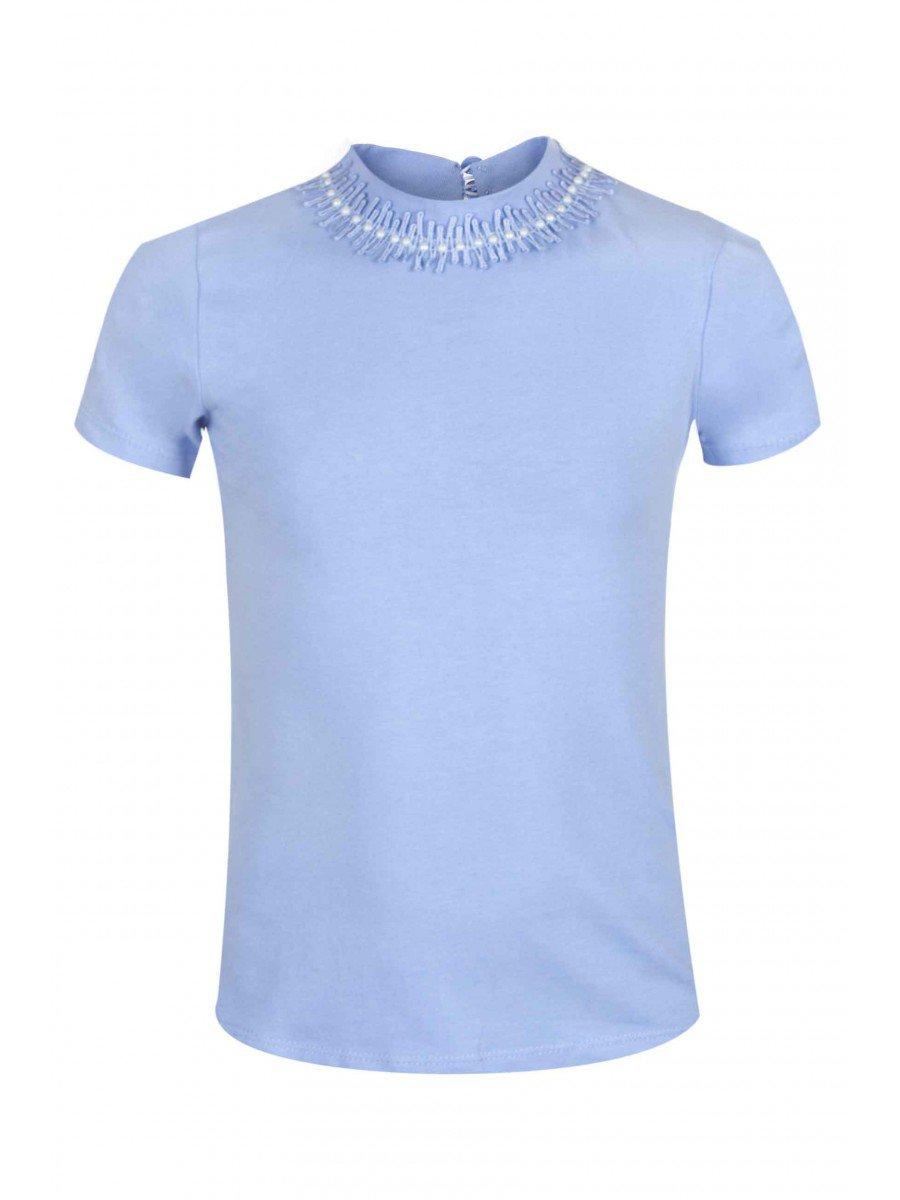 Водолазка для девочки, отделка-гипюр, цвет: голубой