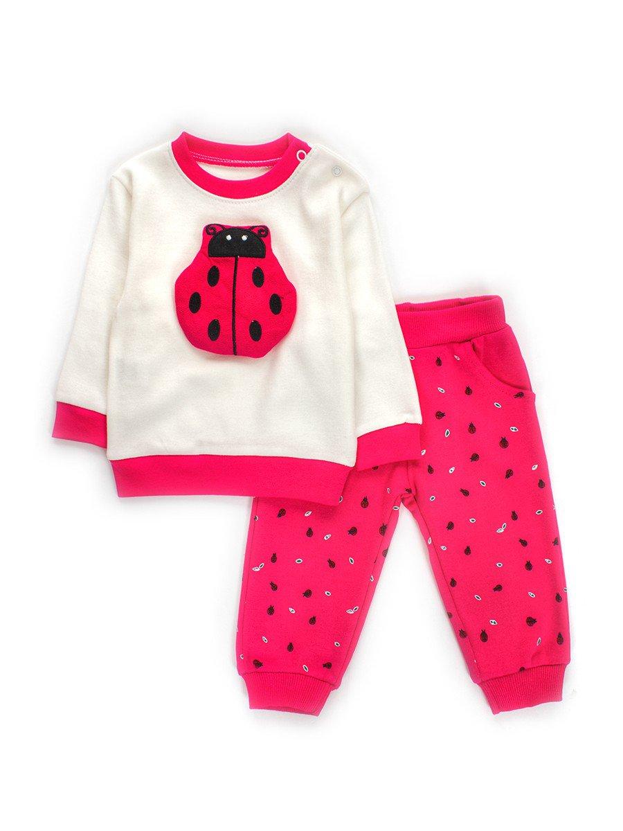 Комплект для девочки; штанишки и кофточка, цвет: малиновый