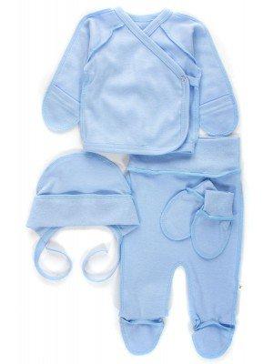 Комплект детский: ползунки, распашонка, шапочка и рукавички