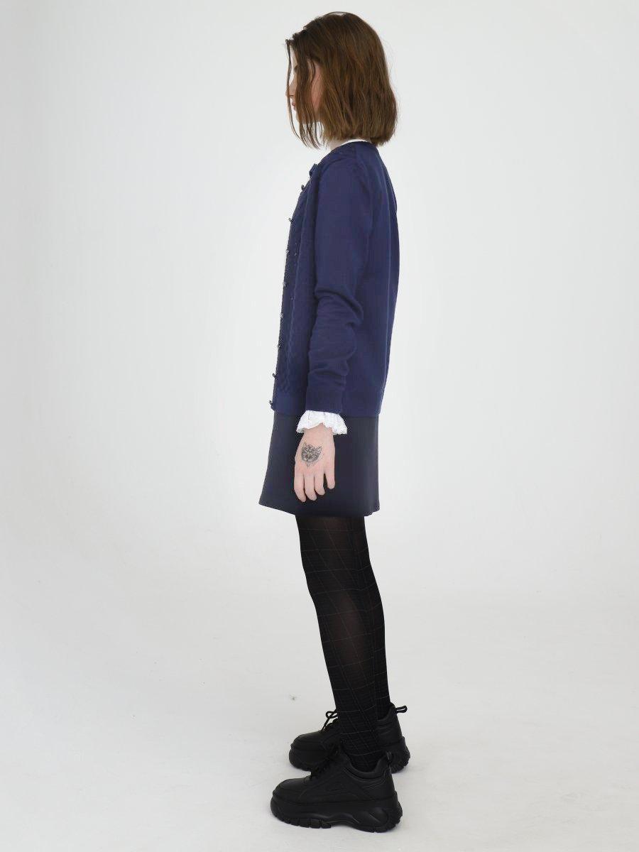 Кардиган прилегающего силуэта для девочки, цвет: синий
