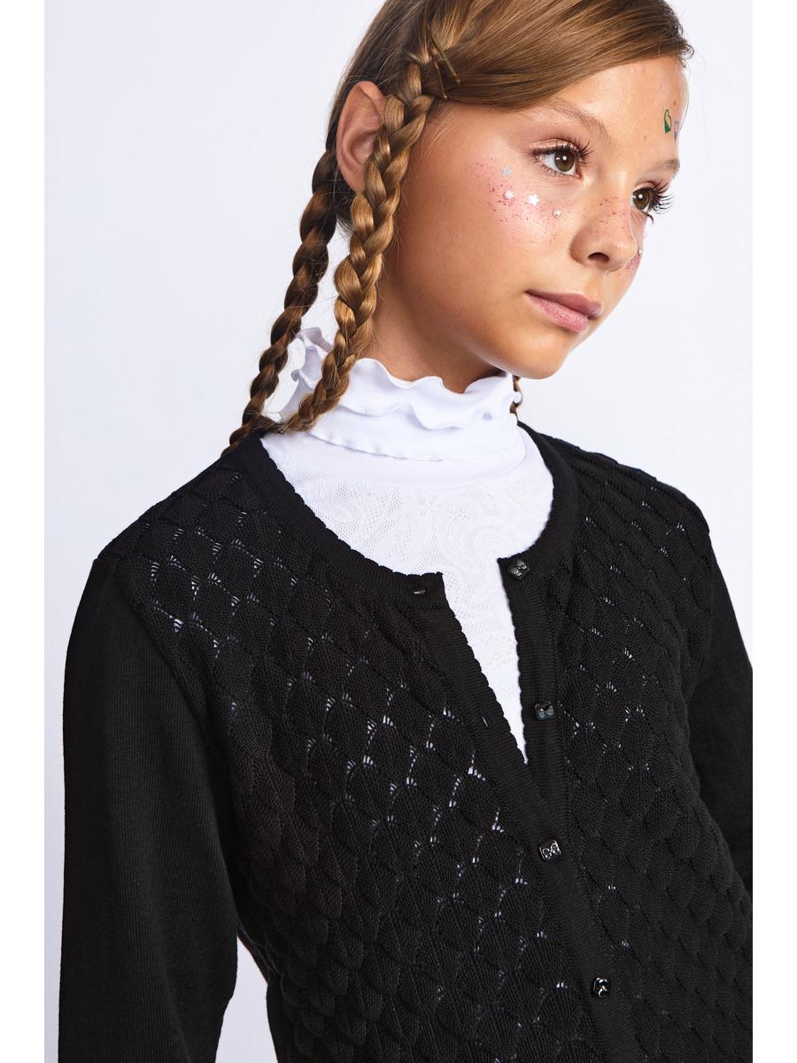 Кардиган прилегающего силуэта для девочки, цвет: черный