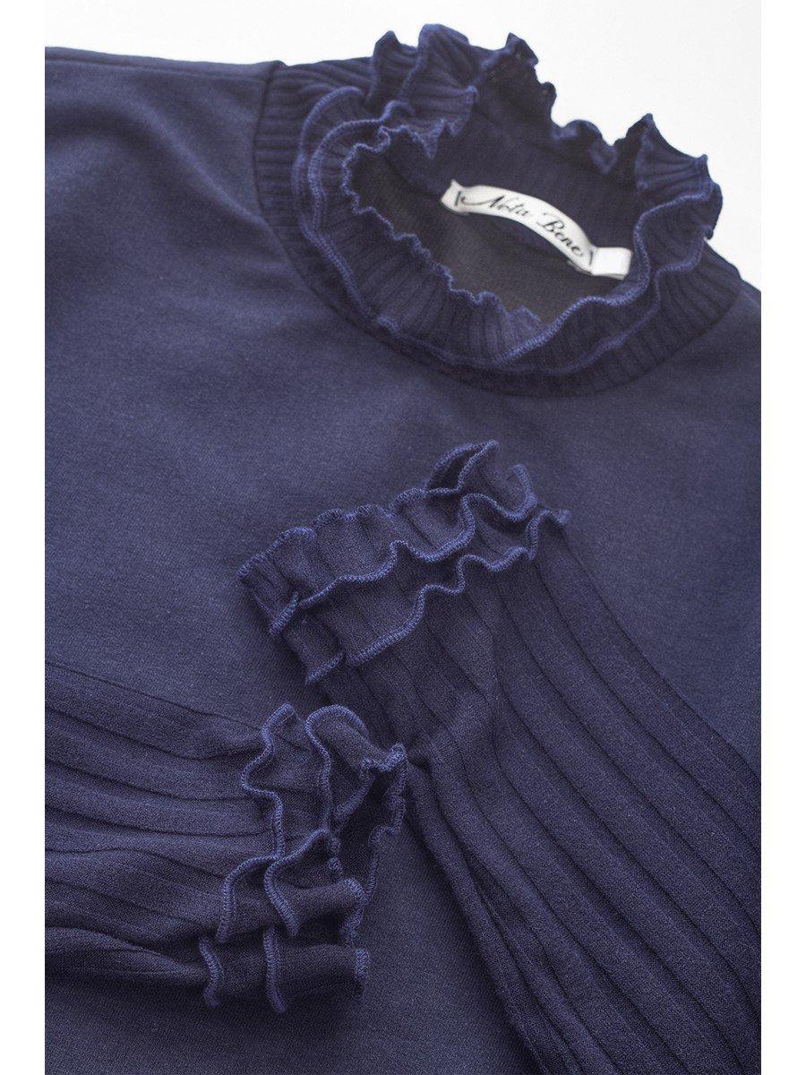 Водолазка, из футера 2-хнитки и вязанного полотна, цвет: темно-синий