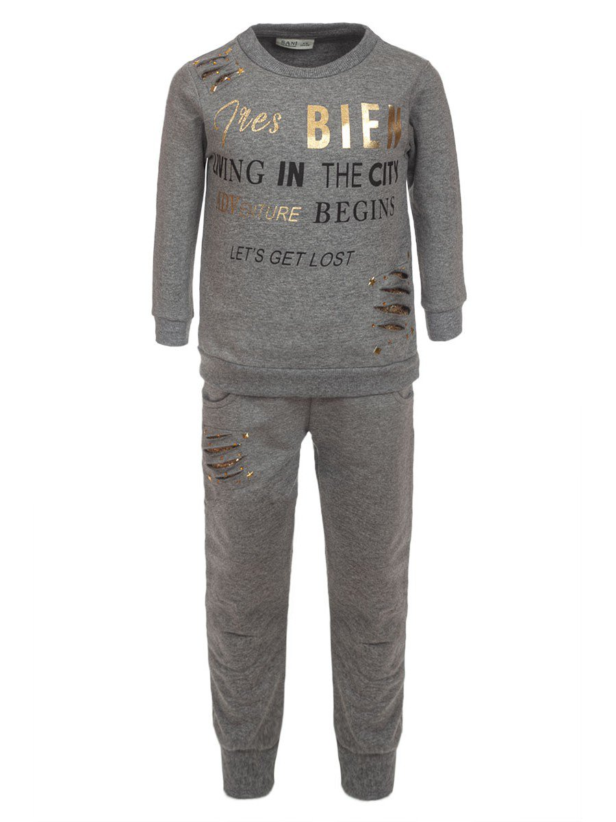 Комплект для девочки: толстовка и штанишки, отделка стразы, цвет: серый