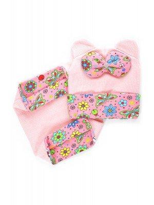 Набор: снуд + шапка вязаная с ушкам, трикотажным отворотом и бантом, светло-розовый