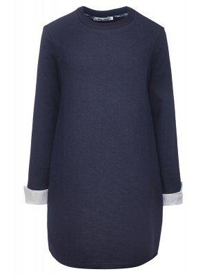 Платье в комплекте с двумя съемными манжетами, из футера 2-хнитки петля