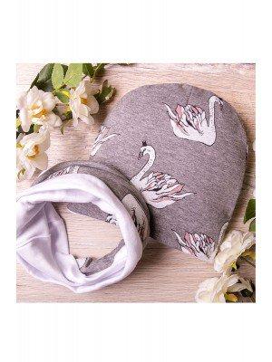 Набор: шапка со снудом из двойного трикотажа, Лебеди,  серый