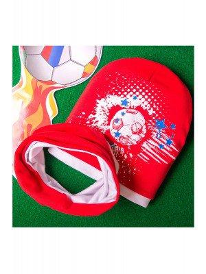 Набор: Шапка формы лопата с футбольным принтом+снуд из двойного трикотажа, красный с белым