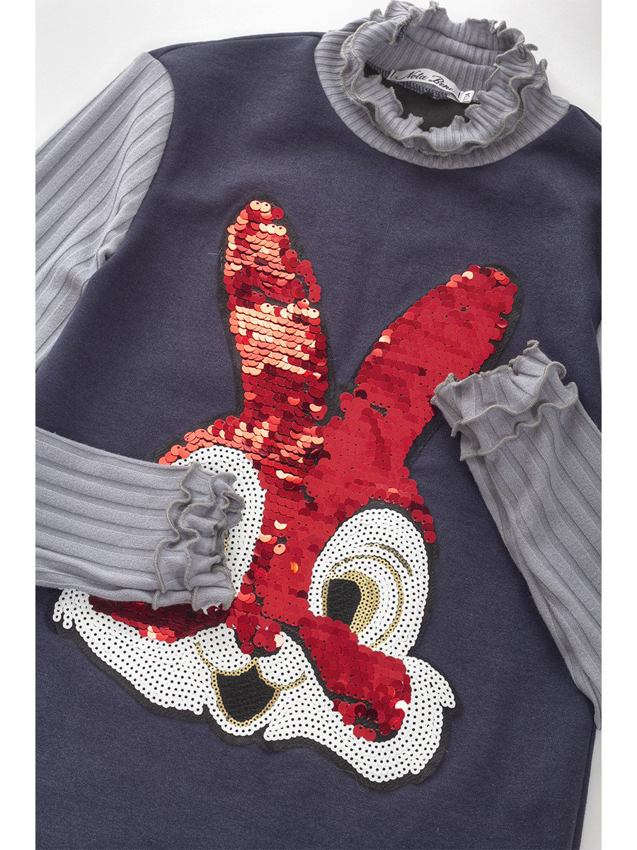 Водолазка, из футера 2-хнитки и вязанного полотна, с аппликацией из двойных пайеток, цвет: темно-синий