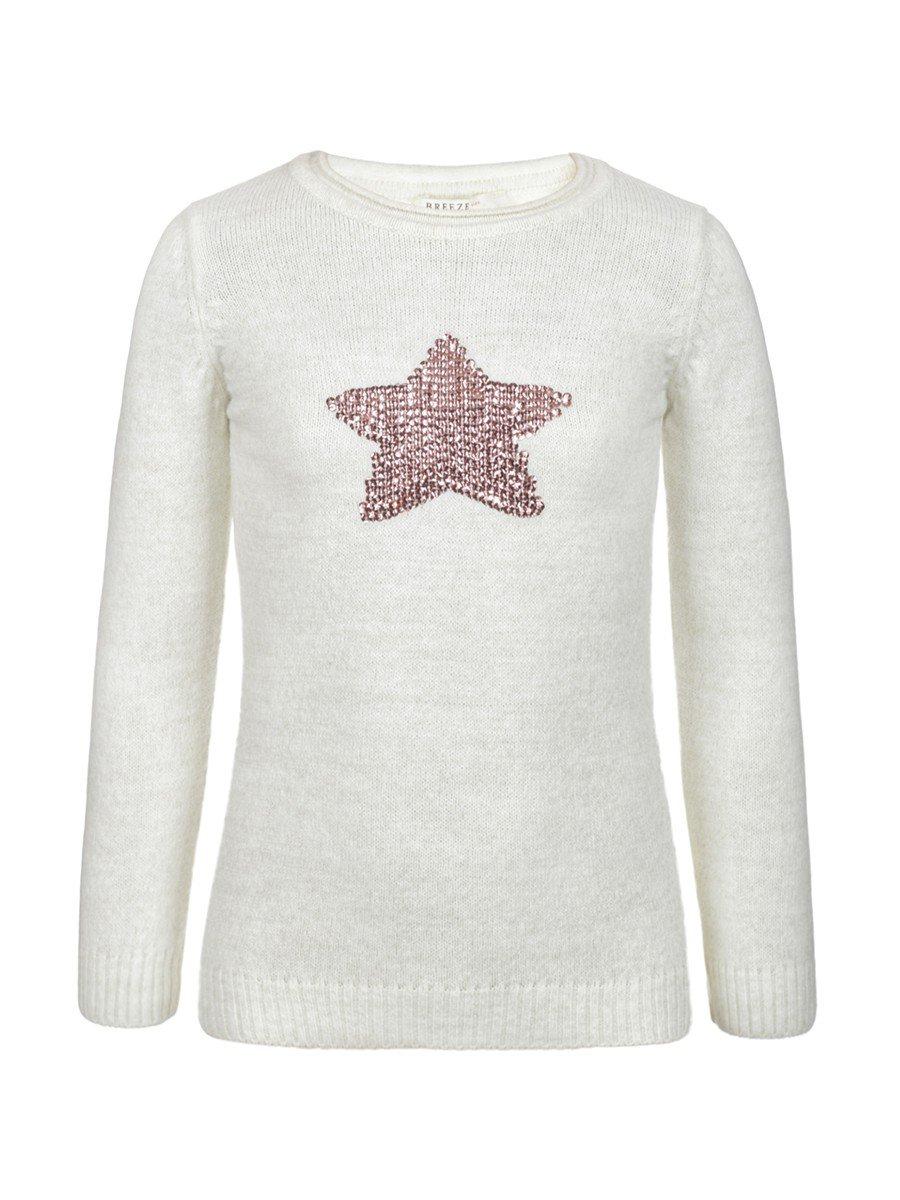 Джемпер для девочки, отделка-пайетки, цвет: белый