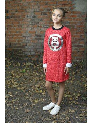 Платье со съемным манжетом, из футера 3-хнитки петля