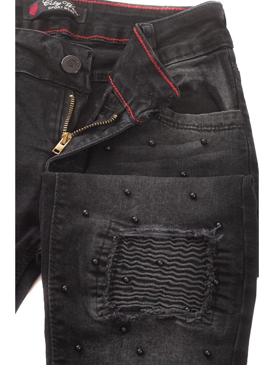 Брюки джинсовые для девочки отделка бусины
