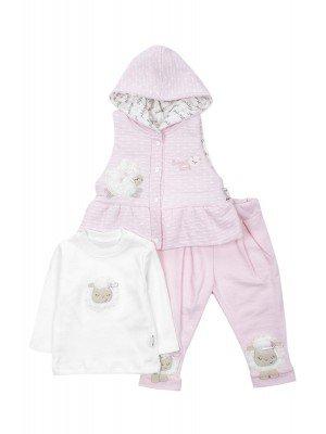 Комплект для девочки: штанишки , кофточка и утепленный жилет