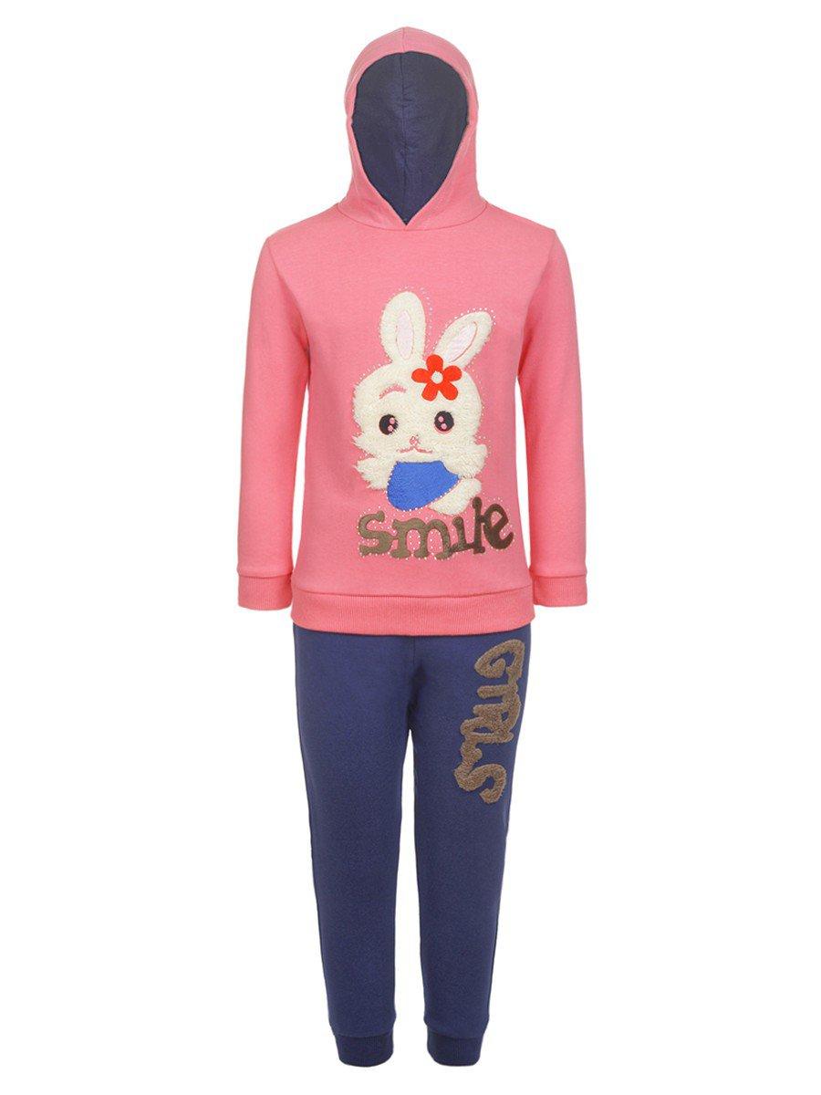 Комплект с начесом для девочки: штанишки и толстовка, цвет: розовый