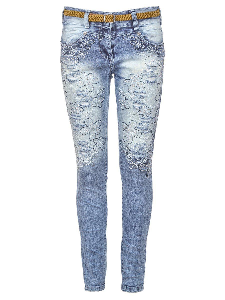 Брюки джинсовые для девочки отделка стразы, цвет: деним