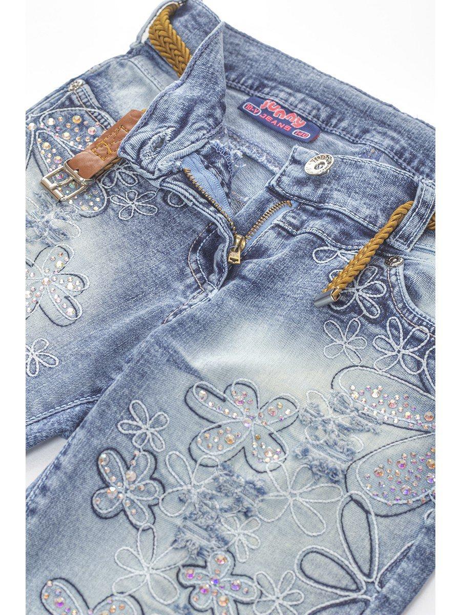 Брюки джинсовые для девочки отделка стразы