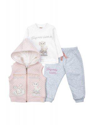 Комплект для девочки: кофточка, штанишки и жилет