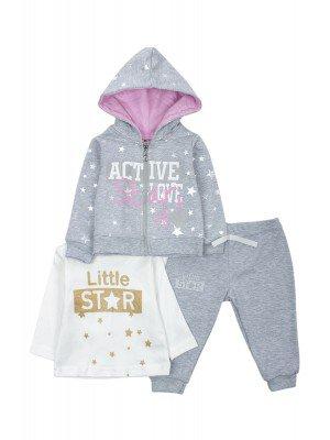 Комплект для девочки: кофточка, штанишки и толстовка